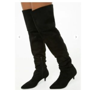 NWT, Black Faux Suede Over-the-Knee Boots